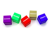 Business concept boxes. Color blocks spelling diff. Concept for business and finance terms. that includes colorful blocks spelling profit, team, finance, income Stock Photo