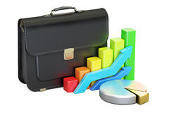 Business concept, briefcase with pie chart and diagram. 3D rende Royalty Free Stock Photo