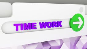 Business concept: browser tabs closeup. Word time work and Problem Solving Button with Arrow Symbol. 3d render vector illustration