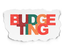 Business concept: Budgeting on Torn Paper. Business concept: Painted multicolor text Budgeting on Torn Paper background, 3d render Royalty Free Stock Images