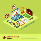 Business concept. Business background with flat. Isometric icons and place for text. Vector illustration vector illustration