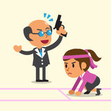 Business concept business boss coaching a businesswoman to run Royalty Free Stock Image