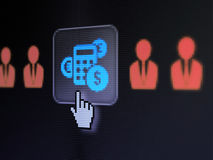 Business concept: Business Man And Calculator on digital compute. Business concept: pixelated Business Man And Calculator icon on button with Hand cursor on Royalty Free Stock Photos