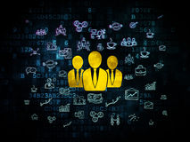 Business concept: Business People on Digital. Business concept: Pixelated yellow Business People icon on Digital background with  Hand Drawn Business Icons, 3d Stock Image