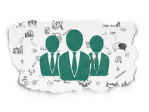 Business concept: Business People on Torn Paper. Business concept: Painted green Business People icon on Torn Paper background with Scheme Of Hand Drawn Business Royalty Free Stock Image