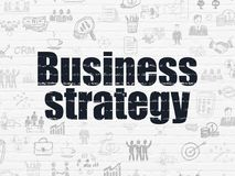 Business concept: Business Strategy on wall background. Business concept: Painted black text Business Strategy on White Brick wall background with  Hand Drawn Stock Photos