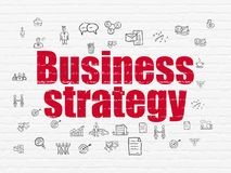 Business concept: Business Strategy on wall background. Business concept: Painted red text Business Strategy on White Brick wall background with  Hand Drawn Stock Photography