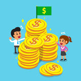 Business concept business team with big coins Stock Image