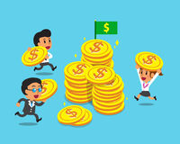 Business concept business team with big coins Stock Photography