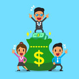 Business concept business team and big money bag Stock Image