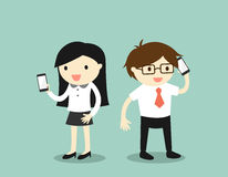 Business concept, Business woman and businessman are using smartphone. Stock Photography