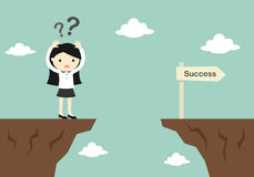 Business concept, business woman is confusing about how to across to another cliff. Vector illustration Royalty Free Stock Photos