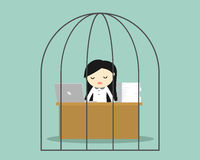Business concept, Business woman feeling tired and bored while working in the prison. Stock Photography