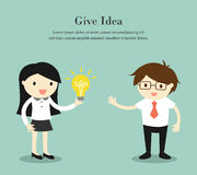 Business concept, Business woman give her idea to businessman. Vector illustration. Stock Photography