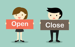 Business concept, Business woman holding 'Open' banner and businessman holding 'Close' banner. Vector illustration Royalty Free Stock Images