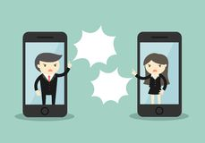 Business concept, Businessman is arguing with business woman via smartphone. Royalty Free Stock Photos