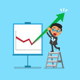 Business concept a businessman and arrow chart. For design Royalty Free Stock Photo