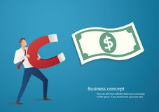 Business concept. businessman attracting money icon with a large magnet vector illustration.  Royalty Free Stock Photos