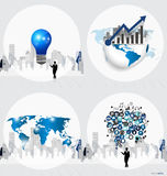 Business concept with businessman, bulb, graph, cloud of applica Royalty Free Stock Photo