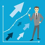 Business concept, businessman,. Business or finance concept,growth chart and businessman, vector illustration Royalty Free Stock Images