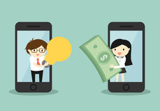 Business concept, businessman and business woman exchanging money for idea via smartphone. Royalty Free Stock Photos