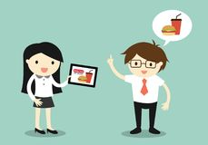 Business concept, Businessman and business woman going to order food online. Royalty Free Stock Images