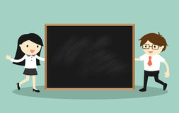 Business concept, Businessman and business woman holding blackboard for presentation. Vector illustration. Stock Photo