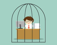 Business concept, Businessman feeling tired and bored while working in the prison. Stock Photography