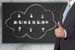 Business concept. Businessman giving thumbs up sign, business concept Royalty Free Stock Photography