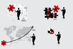 Business concept with businessman, graph , puzzle and cloud of a Stock Images