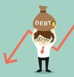 Business concept, Businessman holding debt. Vector illustration. Royalty Free Stock Image