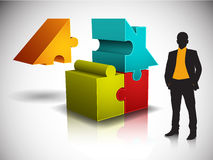 Business concept. Businessman and house made of puzzle Royalty Free Stock Photo