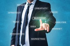 Business  concept - businessman pointing on success strategy components royalty free stock photos