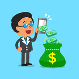 Business concept businessman using smartphone to earn money Stock Image