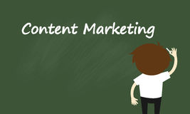 Business concept, Businessman is writing about content marketing. Royalty Free Stock Photo