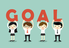 Business concept, Businessmen and business women holding 'GOAL' letters, Goal and teamwork concept. Vector illustration. Royalty Free Stock Image
