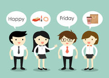 Business concept, businessmen and business women talking about things to do on Friday. Stock Images