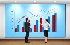 Business concept. Businesswoman and businessman looking at plasma panel with chart Royalty Free Stock Images