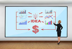Business concept. Businesswoman in office pointing to big plasma with business concept Stock Images
