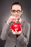 The business concept with businesswoman and piggy bank Stock Photography