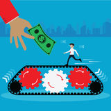 Business concept,Bussiness`s worker running on automatic line wi. Th big hand and money - vector Illustration vector illustration