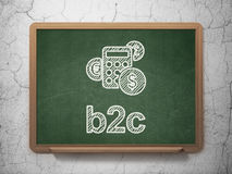 Business concept: Calculator and B2c on chalkboard. Business concept: Calculator icon and text B2c on Green chalkboard on grunge wall background, 3d render Stock Images