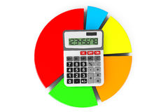 Business Concept. Calculator and colorful chart. On a white background Stock Images