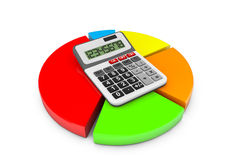 Business Concept. Calculator and colorful chart. On a white background Royalty Free Stock Image