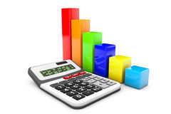 Business Concept. Calculator and colorful chart. On a white background Stock Photography