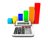 Business Concept. Calculator and colorful chart. On a white background Royalty Free Stock Photos
