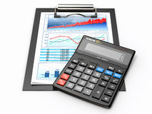 Business concept. Calculator, diagram, grapics and spreadsheet. 3d Stock Photography