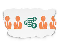 Business concept: calculator icon on Torn Paper. Business concept: row of Painted  business man icons around green calculator icon on Torn Paper background, 3d Stock Photos