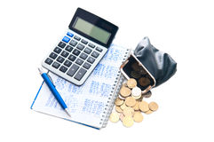 Business concept. Calculator, notebook,purse, pen and coins Royalty Free Stock Photos