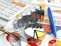 Business concept. Calculator, pen, glasses, graph and charts. Royalty Free Stock Photos